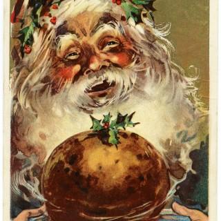 free vintage christmas graphic, antique santa postcard, santa and christmas pudding image, vintage santa clipart, jolly santa
