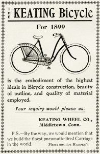 Free vintage clip art Keating bicycle 1899 magazine advertisement