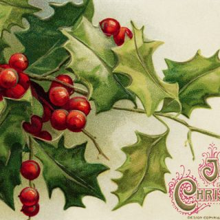 Free vintage clip art Christmas postcard Winsch holly berries