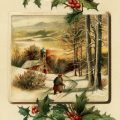 Free vintage clip art country church holly berries Christmas postcard