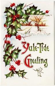 Free vintage clip art Christmas postcard holly berries yule tide greeting