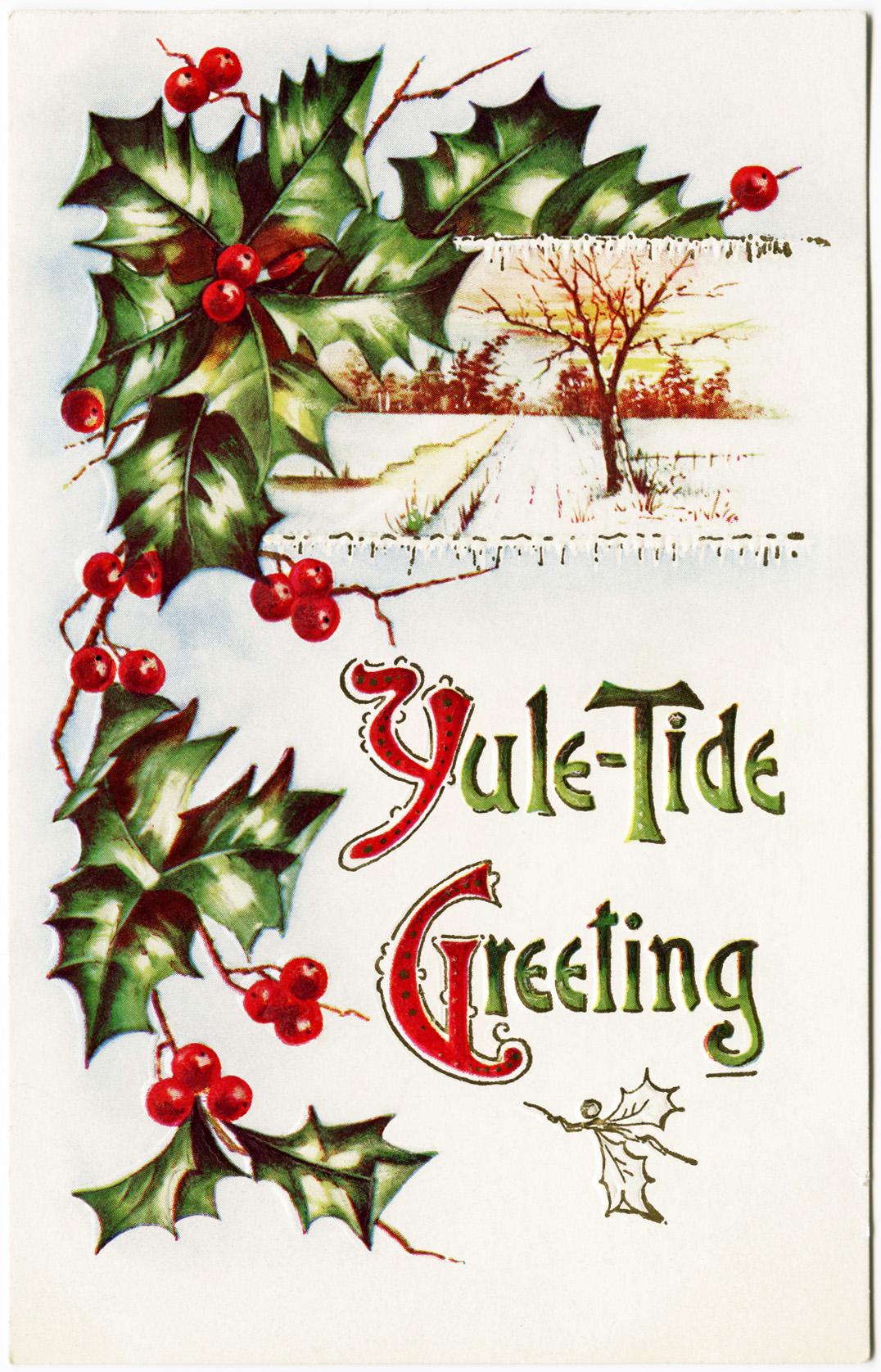 Free vintage postcard image yule tide greeting old design shop blog free vintage clip art christmas postcard holly berries yule tide greeting kristyandbryce Choice Image