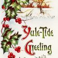 Free vintage clip art Christmas postcard holly berries yule tide greeting