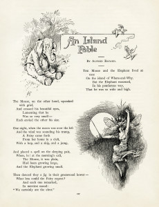 vintage storybook page, elephant image, mouse graphic, fairy illustration, alvred bayard island fable