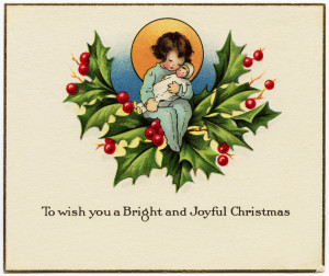 Free vintage Christmas clip art girl and doll sitting on bough of holly and berries