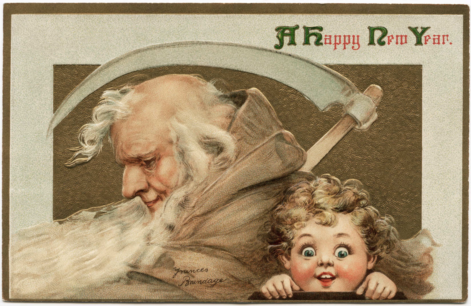 brundage new year postcard, old man young child vintage illustration, happy new year postcard, frances brundage, old fashioned new year wish