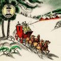 Free vintage Christmas card printable horse drawn carriage