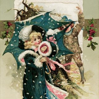 Free vintage clip art Christmas postcard Winsch 1911 girl in blue children having snowball fight illustration