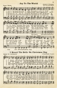 joy to the world, heard the bells on christmas day, vintage sheet music, christmas hymn, public domain christmas song, free sheet music graphic