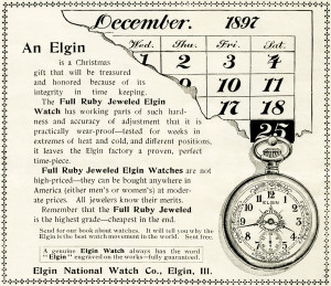 Free vintage clip art Elgin watch magazine advertisement