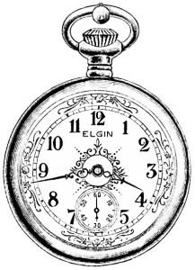 Free vintage black and white clip art Elgin watch