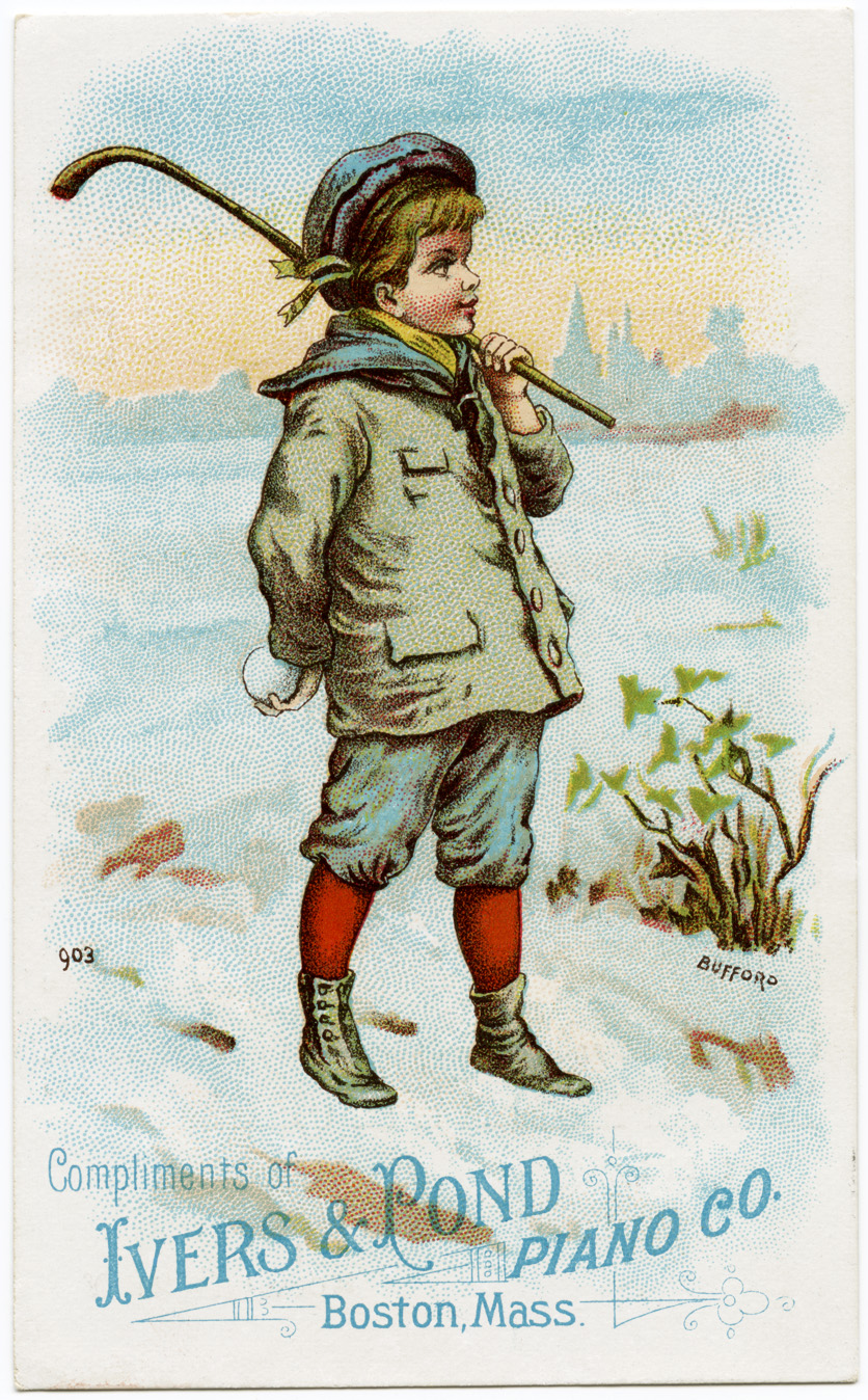 ivers pond piano co, vintage trade card, antique advertising card, boy in winter graphic, free vintage image
