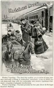 Free vintage clip art lake shore michigan southern railway Christmas ad family horse drawn sleigh