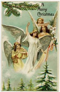 vintage christmas postcard, angels illustration, antique merry christmas image, christmas angels, old fashioned christmas graphic