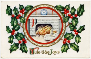 Free vintage clip art Christmas postcard children by fireplace holly berries frame
