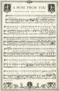 vintage sheet music, a rose from you, old love song, free music graphic, digital music page