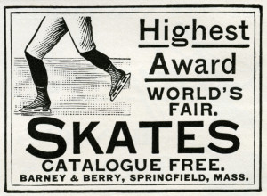 barney & berry skates, vintage magazine ad, antique skates graphic, old fashioned skates, free digital winter image