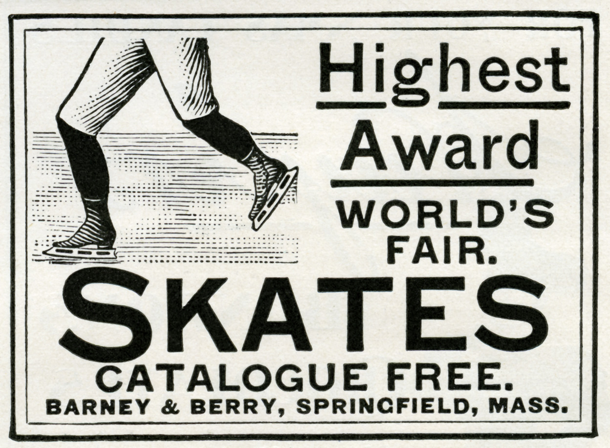 barney & berry skates, vintage magazine ad, antique skates graphic, old fashioned skates, free digital winter image