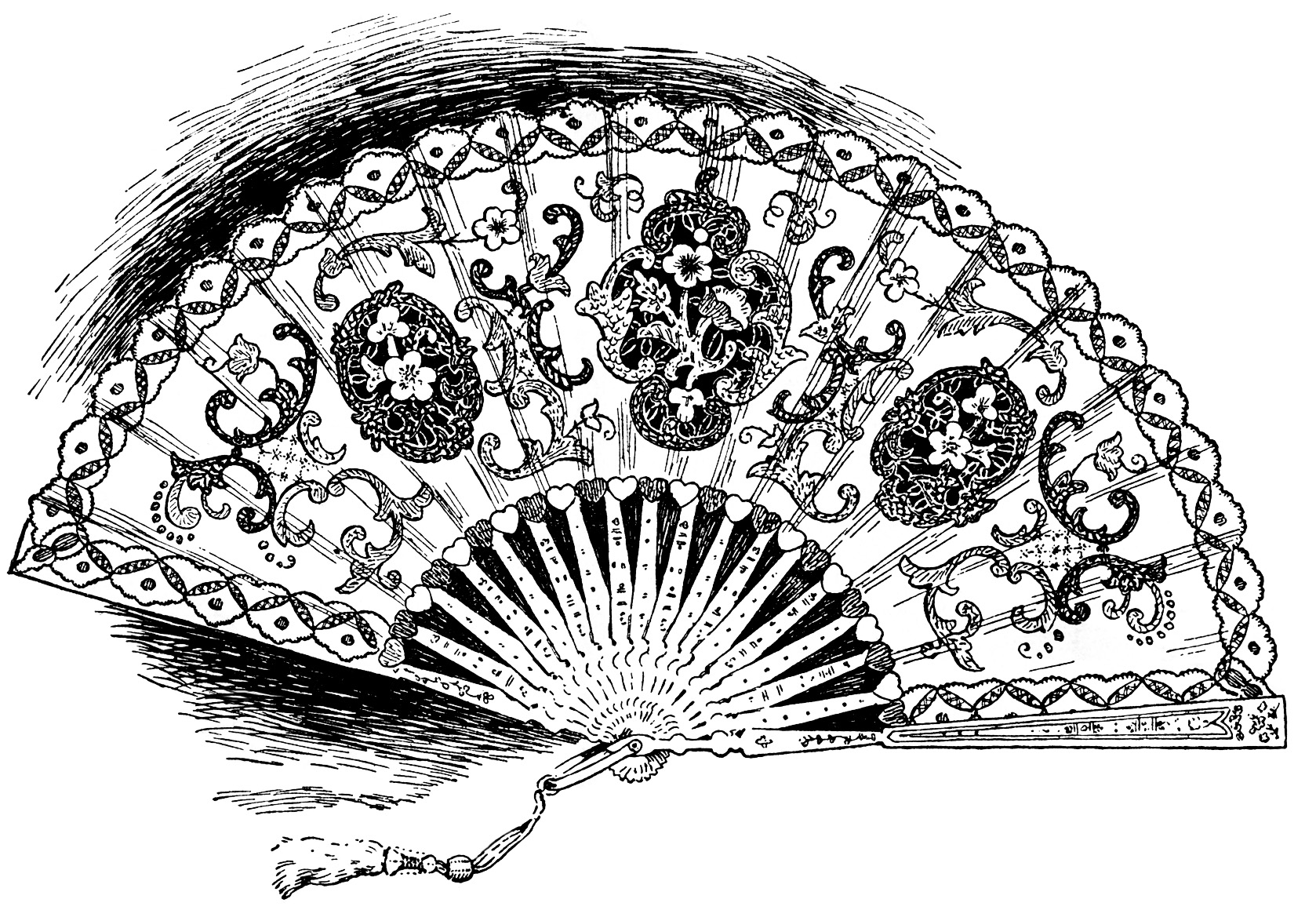 vintage clipart fan, ladies hand held lace fan, victorian fan graphic, antique fan, digital woman's fan clip art, free vintage image fan