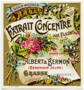 free vintage french label, extrait concentre aux fleurs, albert bermon, antique beauty label, old perfume label