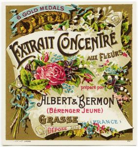 free vintage french label, extrait concentre aux fleurs, albert bermon, antique beauty label, old perfume label