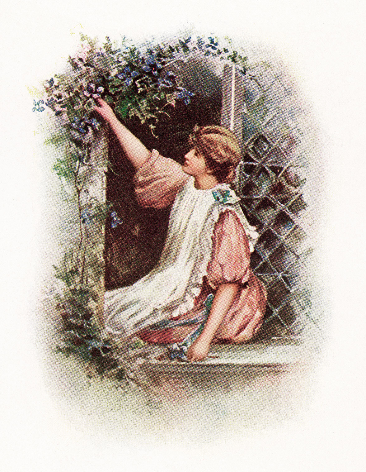 wild flowers from whittier, girl picking flowers, young lady seated in window, free vintage graphic, vine of flowers around window