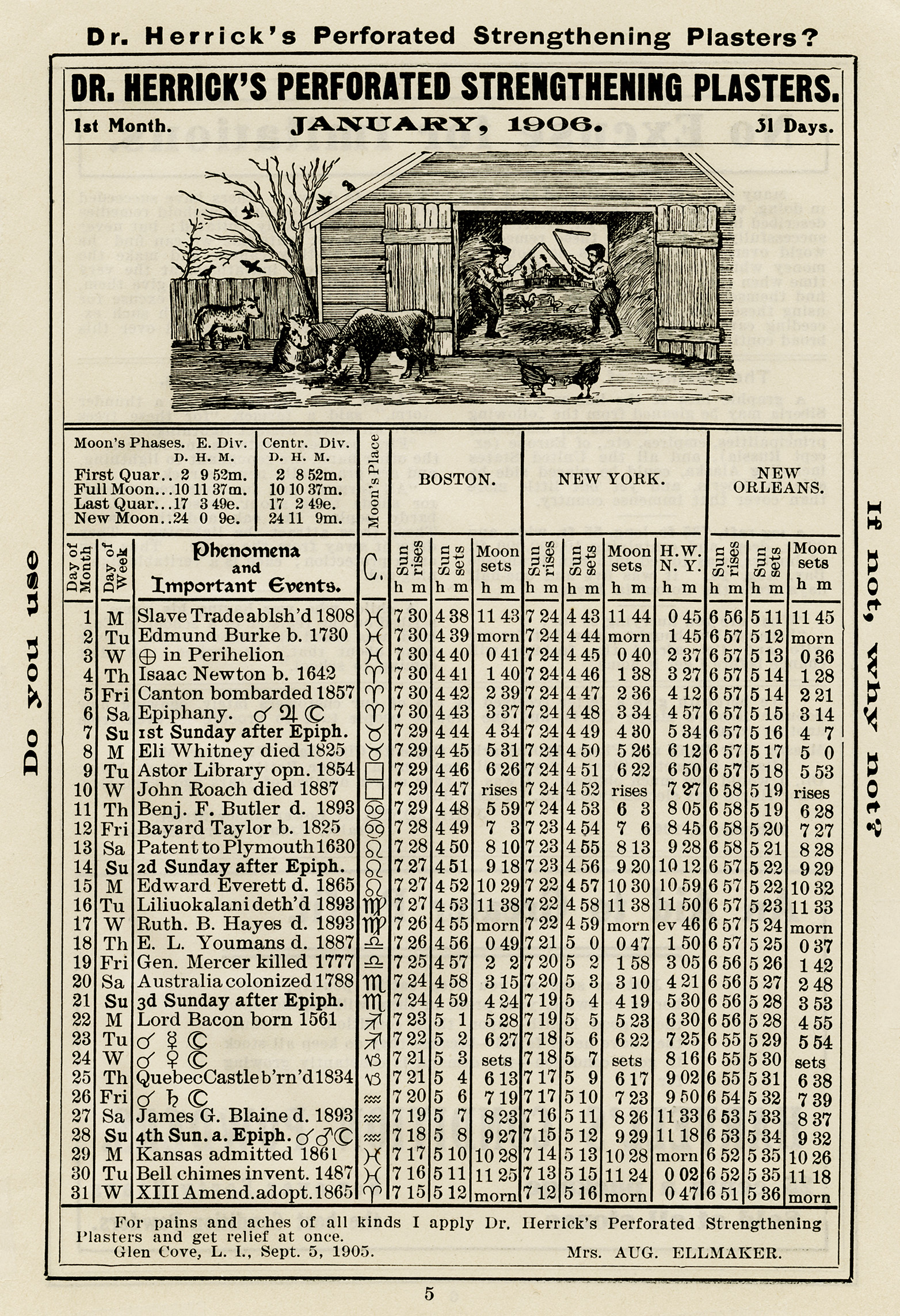 herrick almanac January 1906, important events 1906, free vintage almanac graphic, old book page
