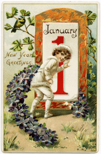 Free vintage clip art boy going to open January 1 door postcard image