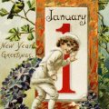 Free vintage clip art boy going to open January 1 door postcard image