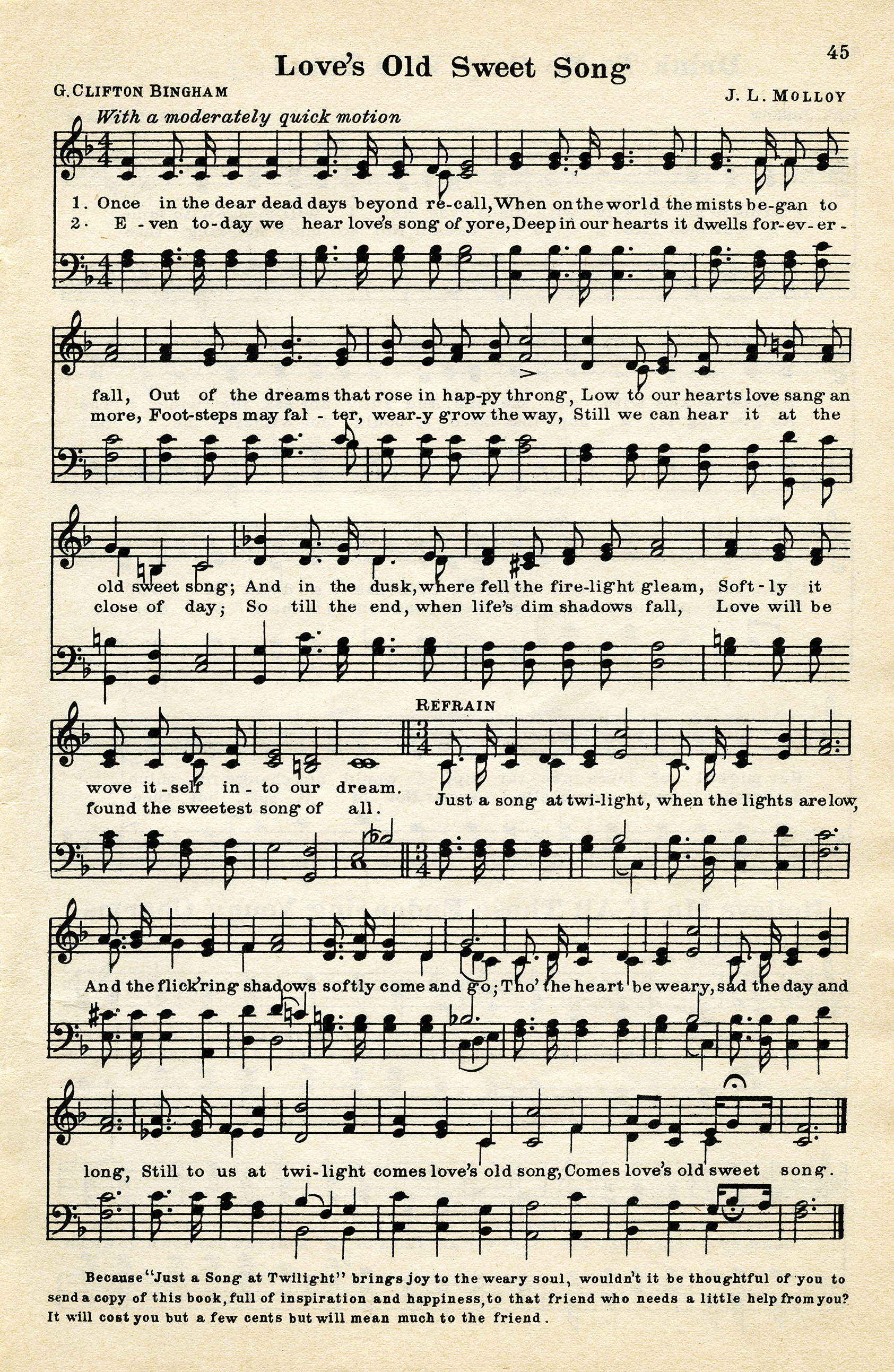 vintage love song, free vintage sheet music, digital music page, love's old sweet song, old music graphic