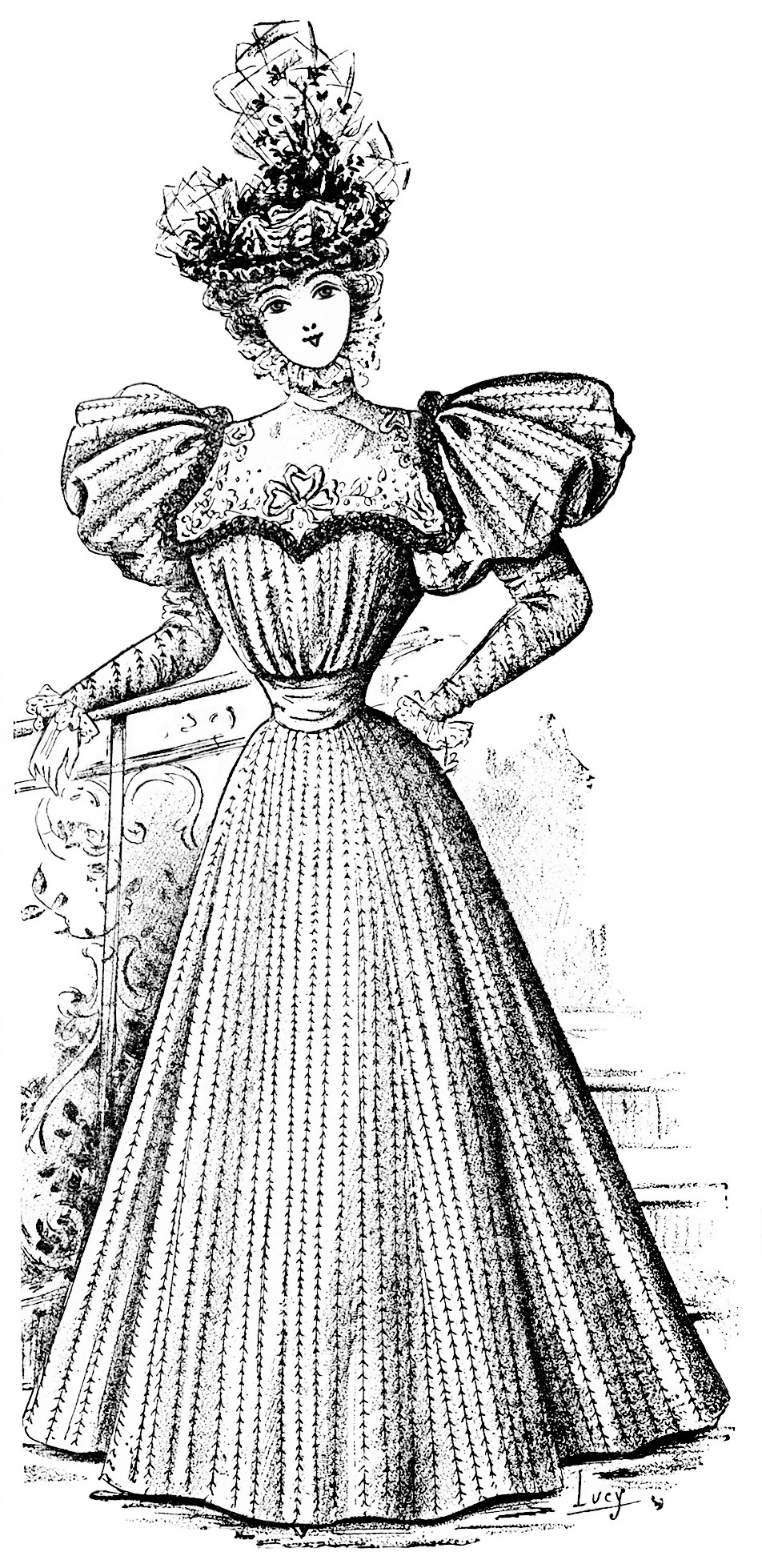 Victorian lady, vintage french fashion, elegant dress clipart, fashion 1896, antique gown illustration