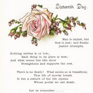 Free vintage clip art poem and pink rose