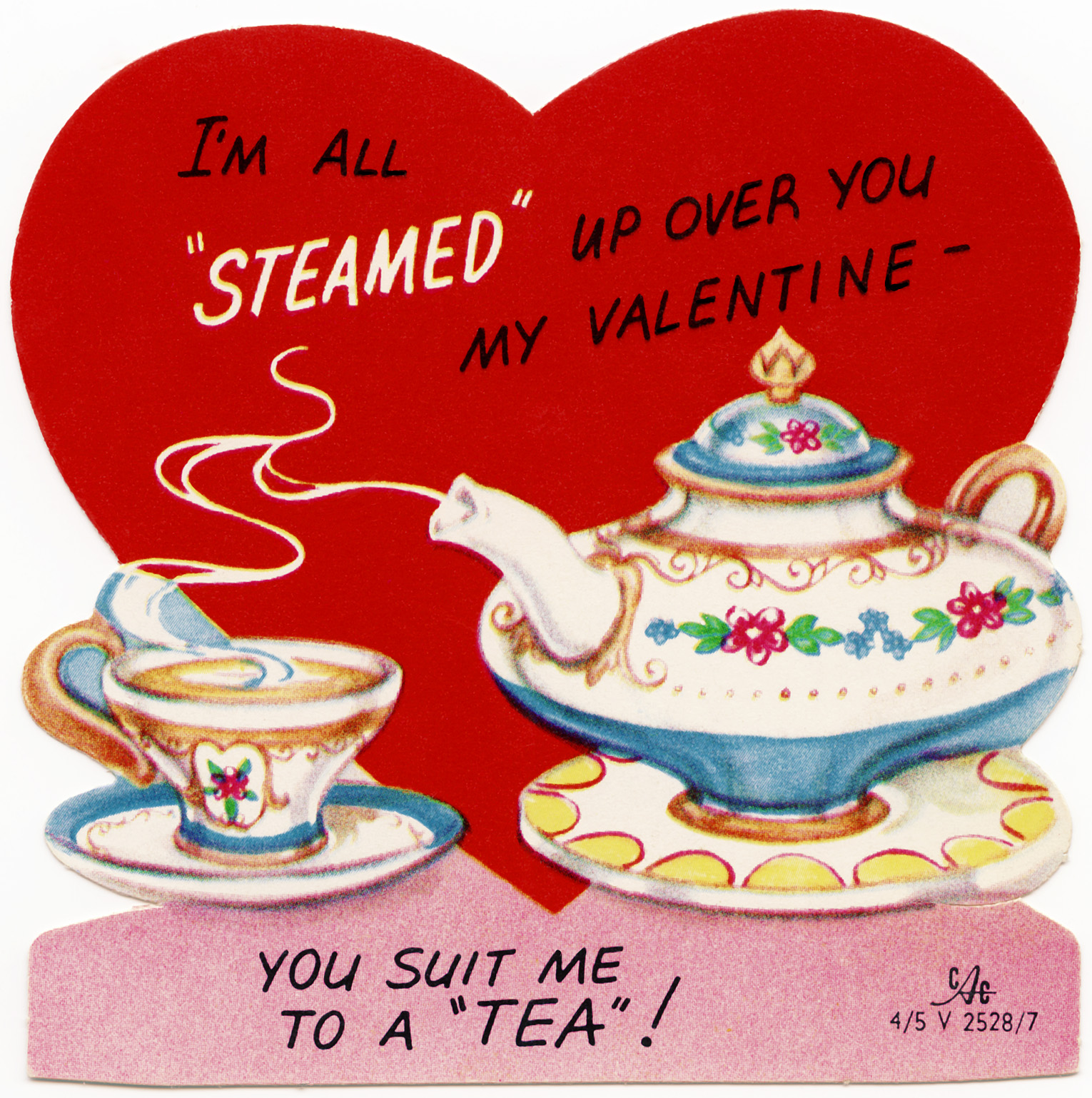 free vintage valentine graphic, retro tea valentine, you suit me to a tea, clipart valentine, public domain valentine