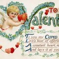 Free vintage clip art image Valentine postcard cupid poem