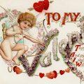 Free vintage clip art valentine postcard cupid hearts poem