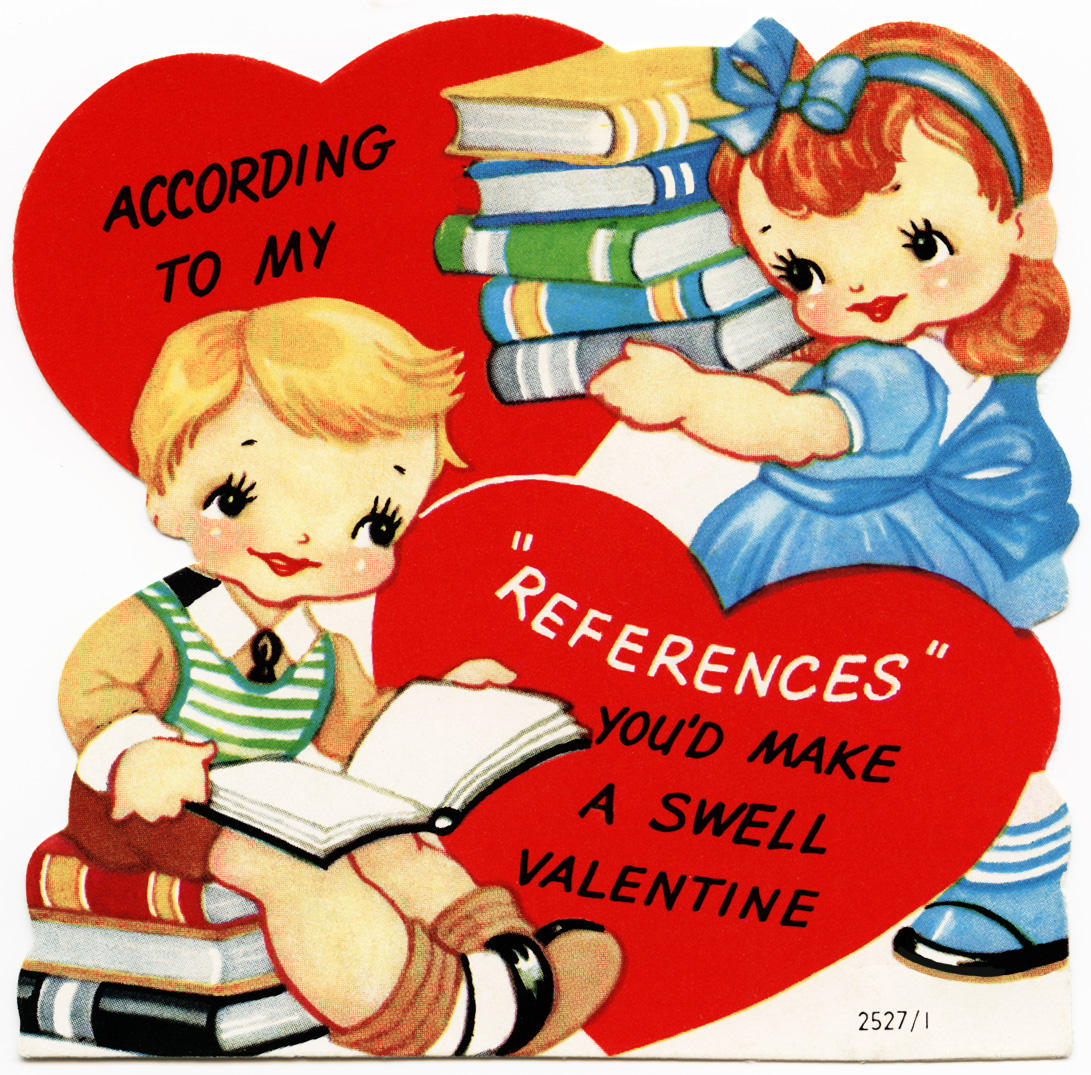 retro valentine, free vintage valentine graphic, a swell valentine message, kids and books clipart, old valentine for children