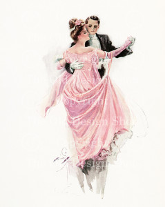 harrison fisher, the waltz, man woman dancing vintage image