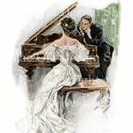 harrison fisher, the waltz, man woman dancing vintage image, I hear her sing, lady at piano, victorian couple, at the opera, group at theatre, victorian art