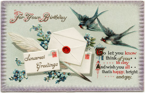 Free vintage clip art birds envelopes birthday postcard
