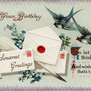 Free vintage clip art birds envelopes birthday postcard