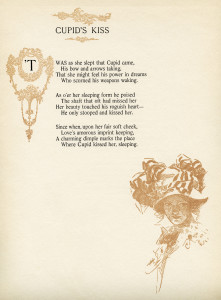 cupid's kiss, old fashioned love poem, walter learned, harrison fisher, vintage book page graphic