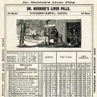 vintage Herrick's almanac book page