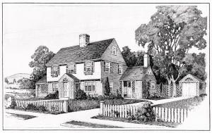 free vintage house clip art illustration black and white