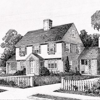 vintage house free clip art black and white