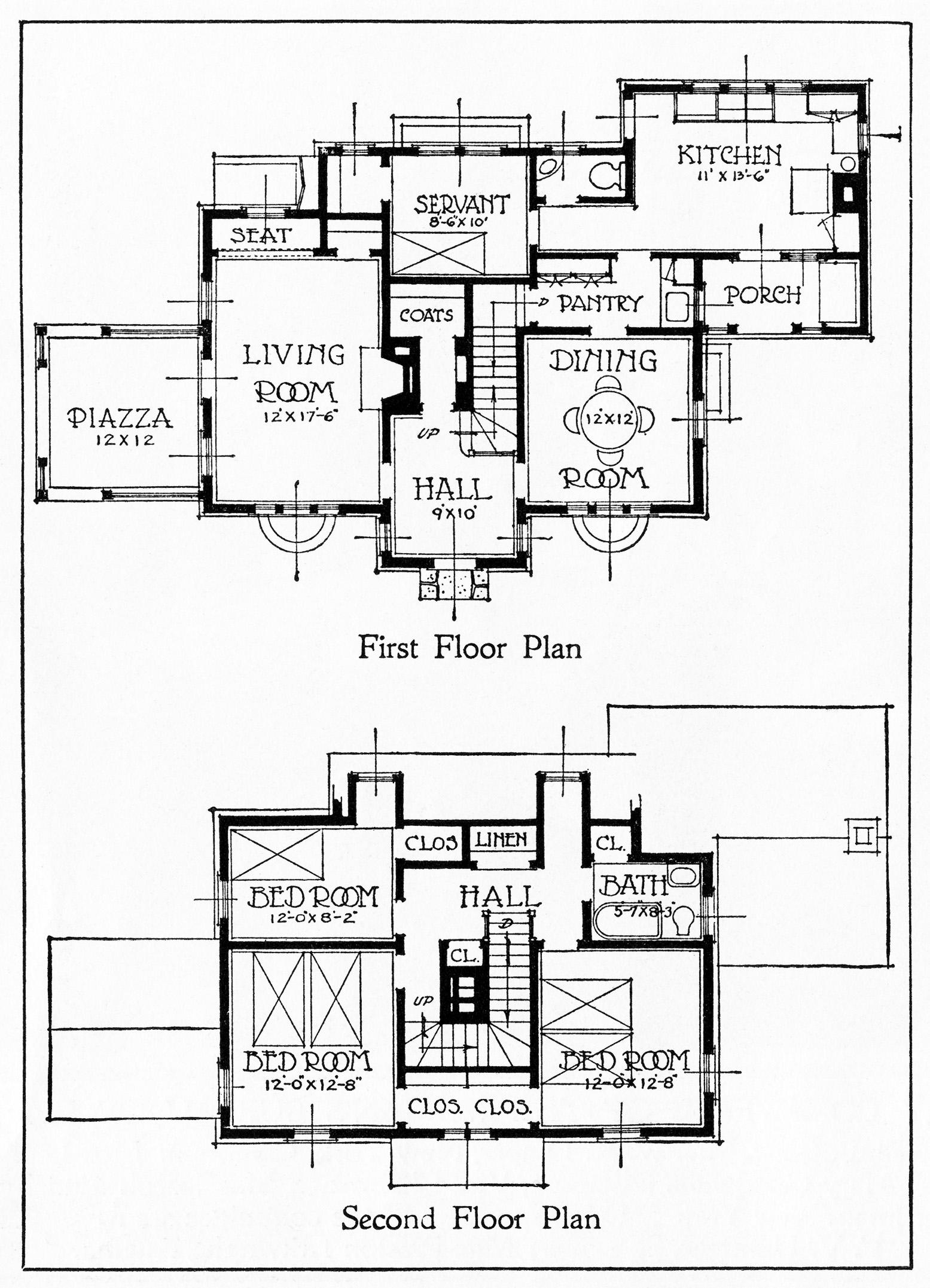 Vintage House and Floor Plans Clip Art | Old Design Shop Blog