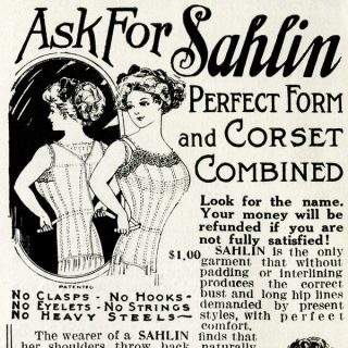Free vintage clip art Sahlin corset magazine advertisement