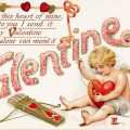 Free vintage clip art image valentine postcard cupid sewing heart