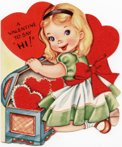 Free vintage clip art Valentine card girl finding treasure chest of hearts