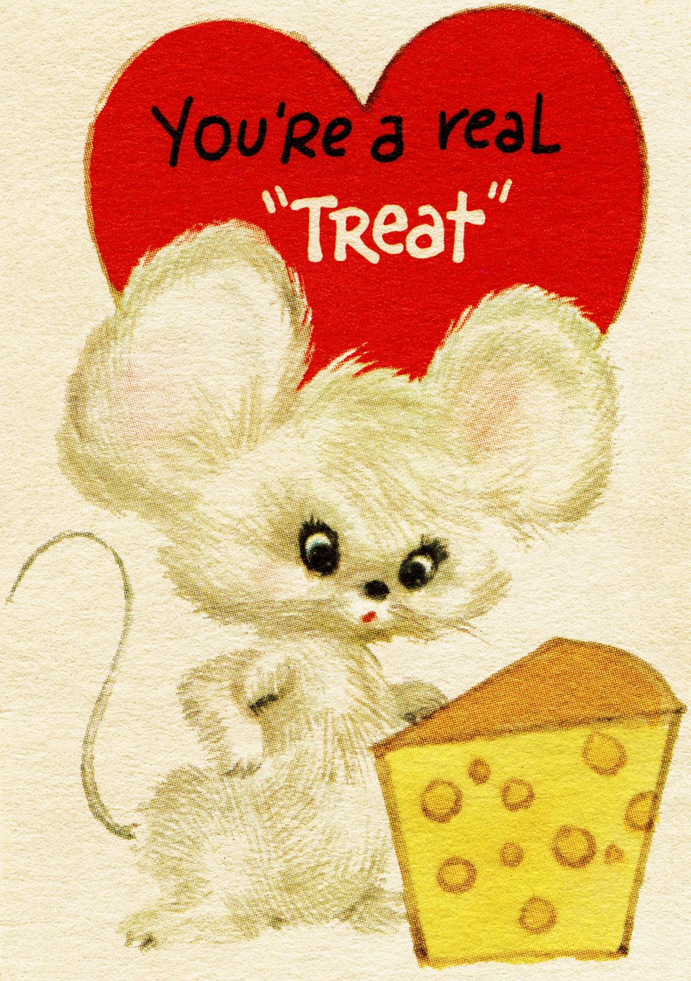 mouse and cheese clipart, free vintage valentine graphic, child valentine digital, old fashioned valentine clip art
