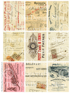 vintage ephemera, french invoice, french receipt, digital collage sheet, printable ATC